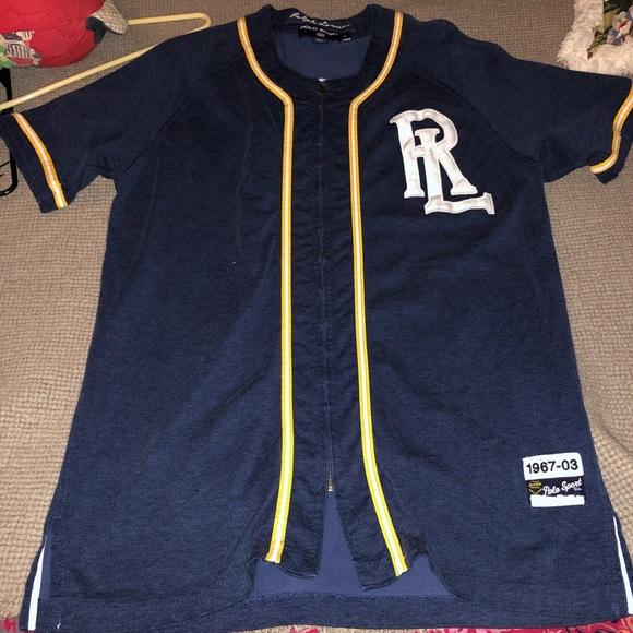 Up Ralph Polo Jersey Shrt Lauren Zip Blue Baseball ymP8wOvNn0